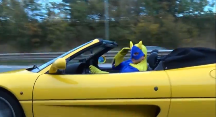 Bananaman to the Rescue in His Yellow Ferrari [Video]