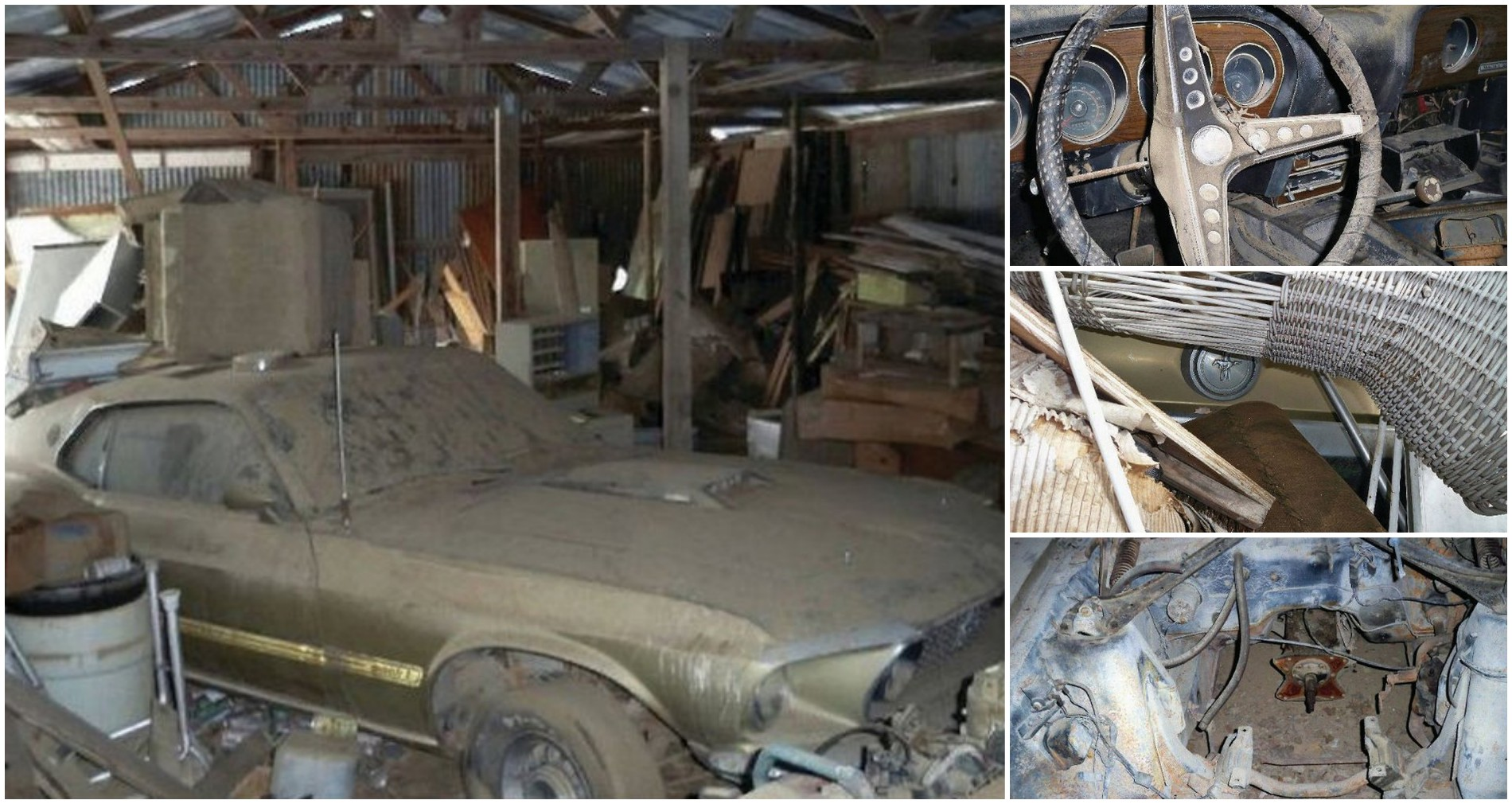 5 photos barn find 1969 ford mustang