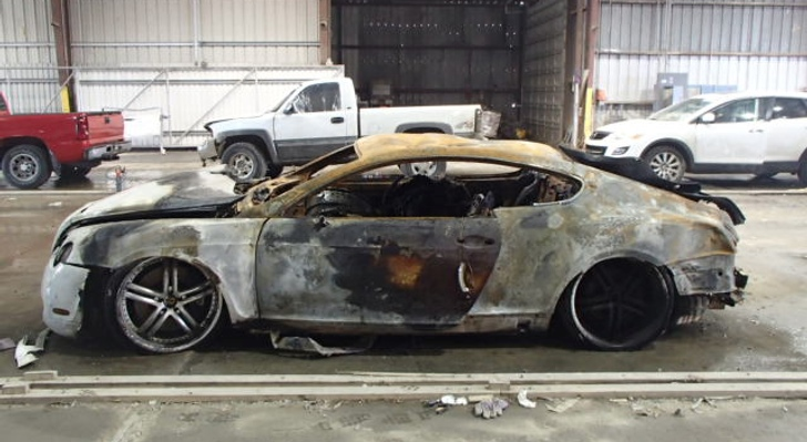 bentley continental gt burns to a crisp  still looks majestic