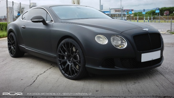 Bentley Continental GT in Matte Black Rides on PUR Wheels [Photo Gallery]