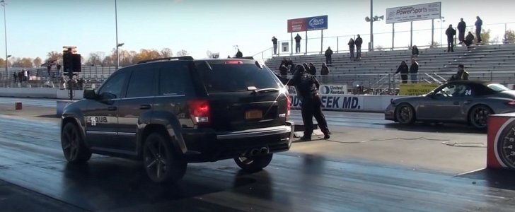 Blown Jeep Grand Cherokee SRT8 Drag Races Porsche 911 Turbo S, Doesn't Regret It