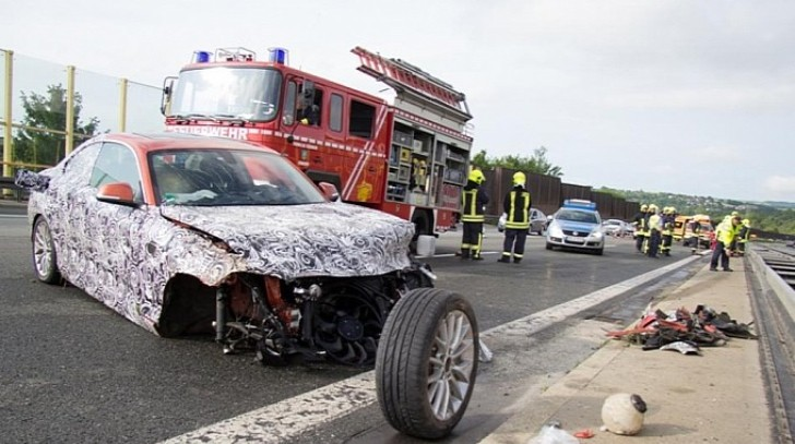BMW 2 Series Prototype High Speed Crash Has Autobahn Closed [Photo Gallery]