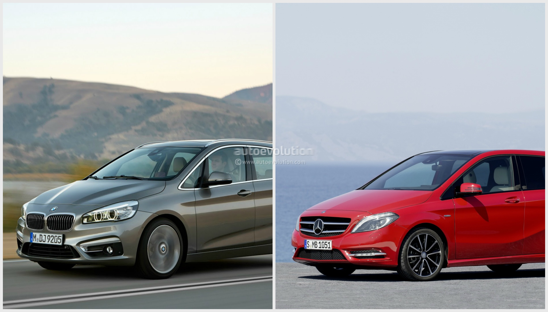 bmw 2 series vs mercedes benz b class photo comparison