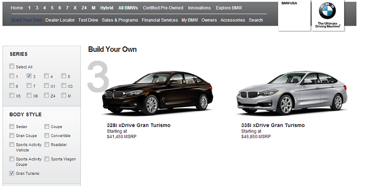 BMW 3 Series GT Configurator Is Live on BMWUSA.com