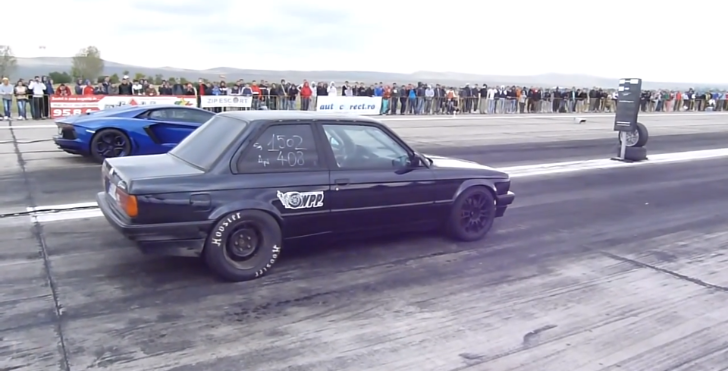 BMW E30 M3 vs Lamborghini Aventador Drag Race [Video]