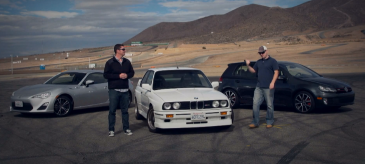 BMW E30 M3 vs VW Golf GTI vs Scion FR-S by Motortrend [Video]
