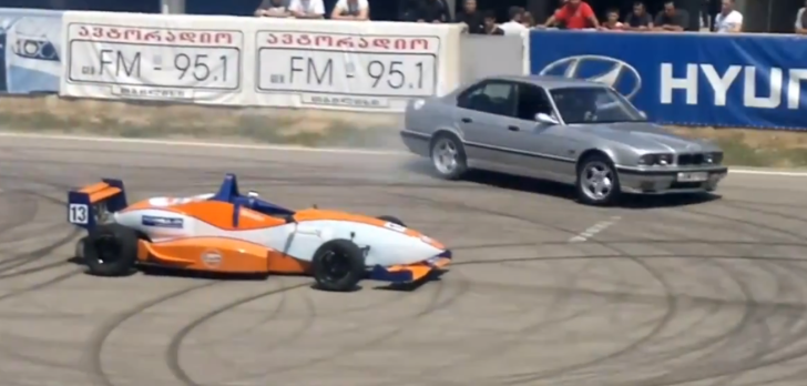 BMW E34 M5 Drifts Around a Formula Car [Video]