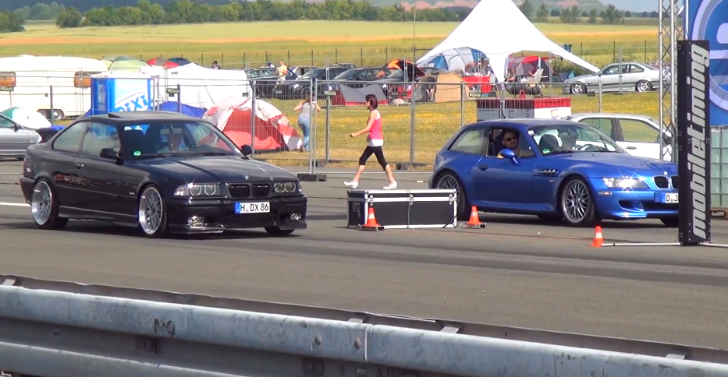 BMW E36 M3 vs BMW Z3 M Coupe Drag Race [Video]