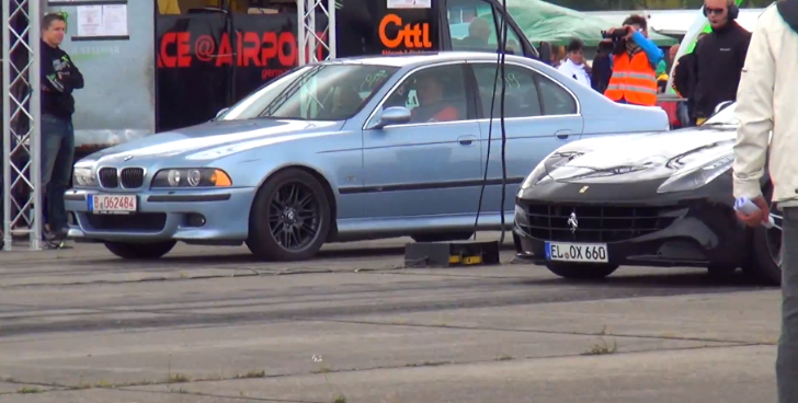 BMW E39 M5 vs Ferrari FF Is the Funniest Drag Race You've Ever Seen [Video]