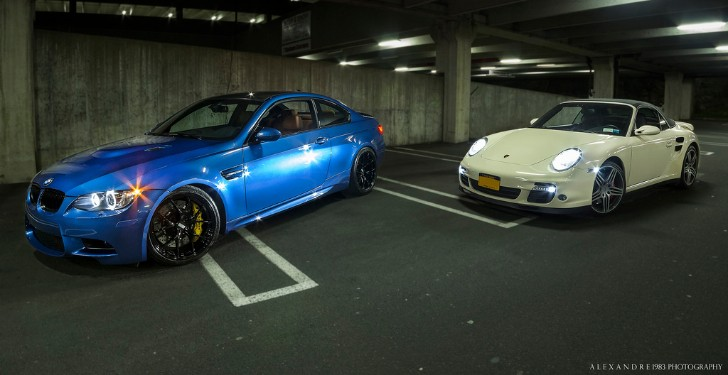BMW E92 M3 and Porsche 997 Turbo Pose in Underground Parking Lot [Photo Gallery]