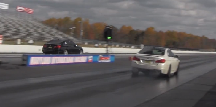 BMW F10 M5 vs BMW F10 535i Drag Race [Video]
