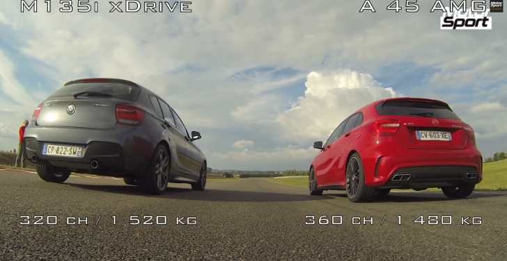 BMW F20 M135i xDrive vs Mercedes-Benz A45 AMG Drag Race [Video]