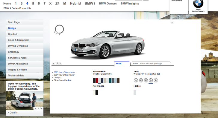 Bmw f33 4 series convertible visualizer goes online Online visualizer