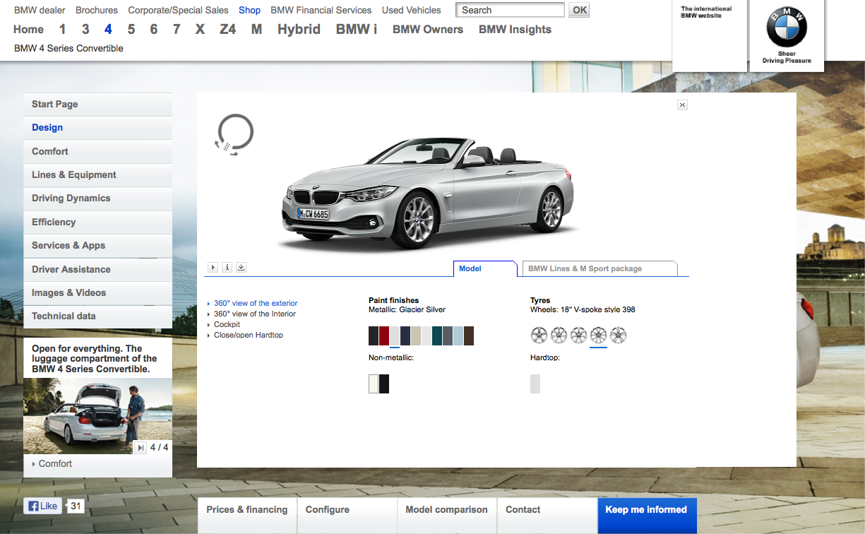Bmw f33 4 series convertible visualizer goes online for Online visualizer