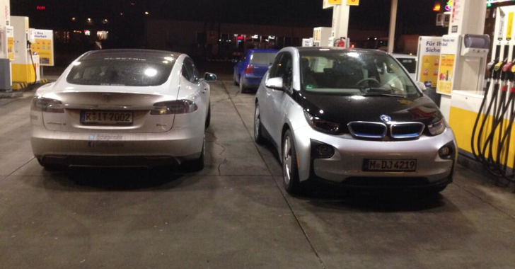 BMW i3 Meets Tesla Model S in Gas Station