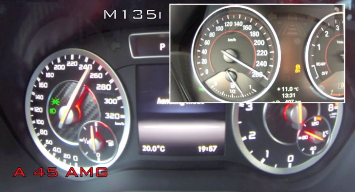 BMW M135i vs Mercedes-Benz A45 AMG Sprint to 260 km/h [Video]