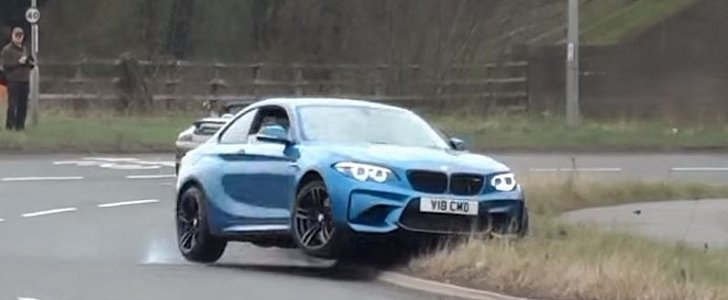 Bmw M2 Crashes Leaving Uk Car Show Hits Curb In Front Of