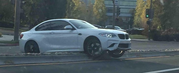 Bmw M2 Driver Crashes His Car In California Gets Stuck On Median Autoevolution