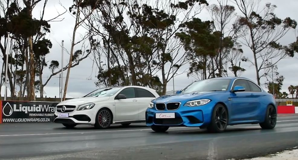 BMW M2 vs. Mercedes A45 AMG Drag Race Needs Wicked Photo Finish ...