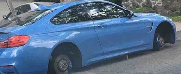 Bmw M4 Has Wheels Stolen Overnight May Appear Slammed