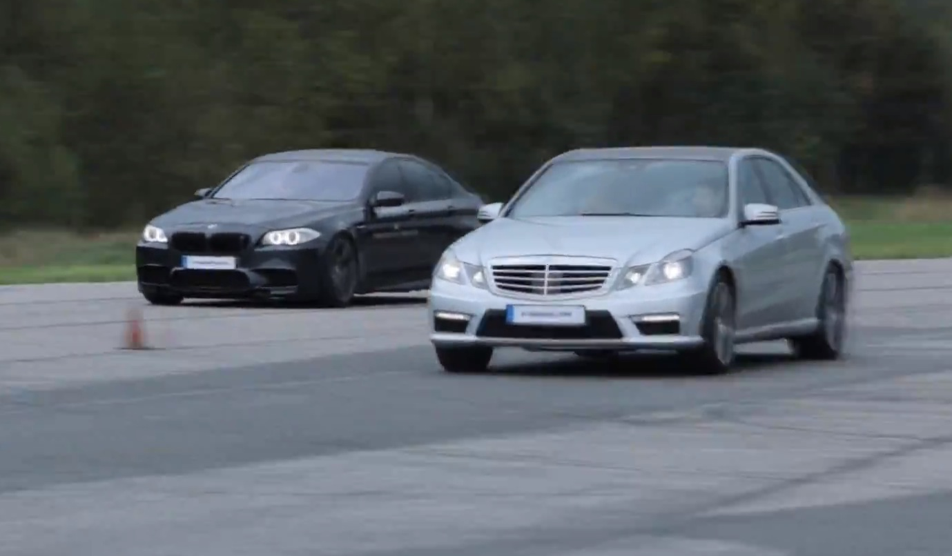 Bmw m5 vs mercedes benz e63 amg performance package drag for Mercedes benz e series amg