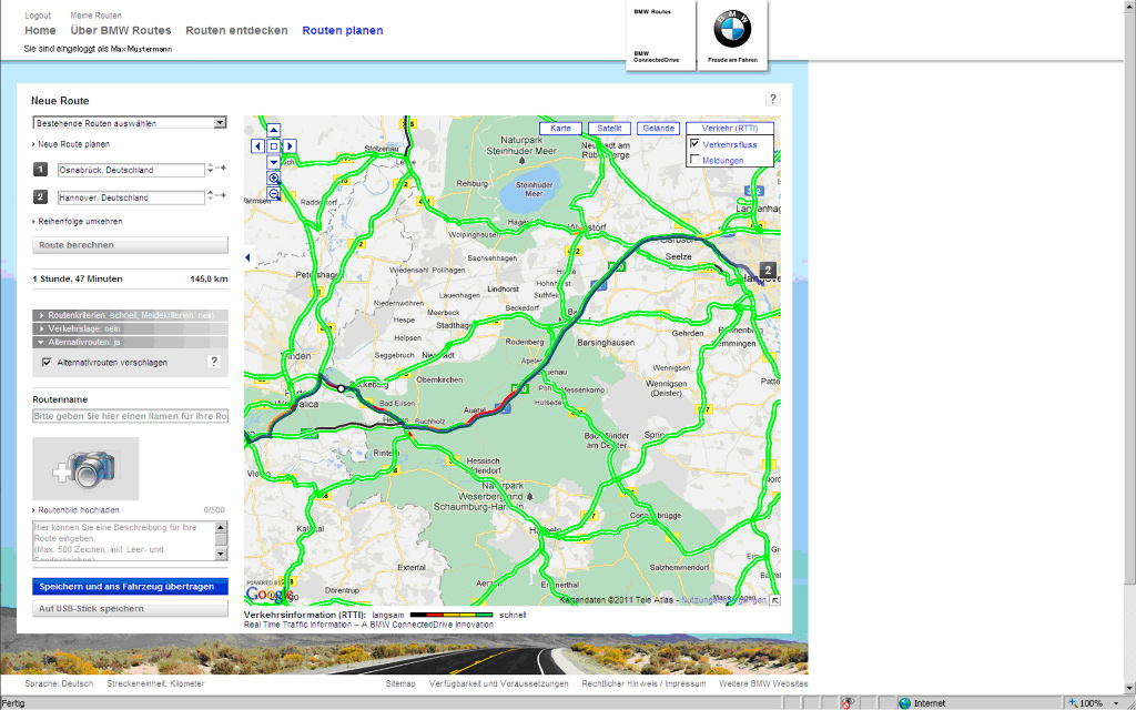 Real Time Internet Traffic Map.Bmw Real Time Information Now On Internet With Bmw Routes