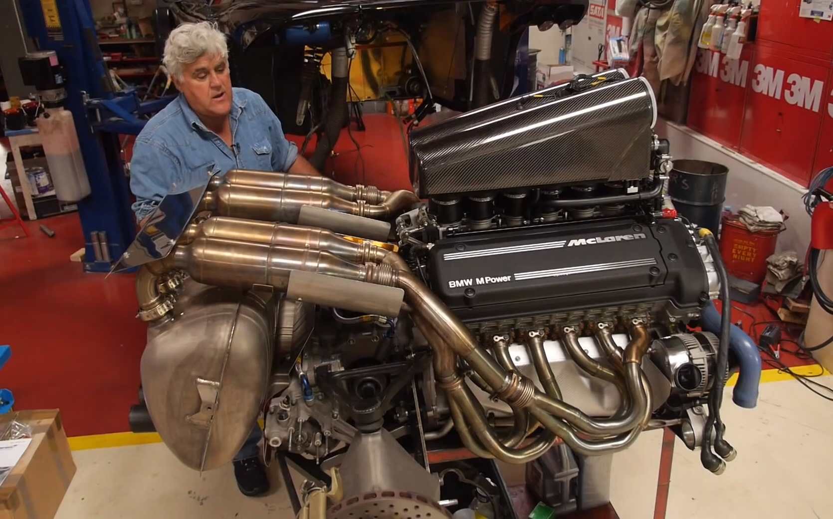 Bmw 39 s s70 2 engine showcased in jay leno 39 s garage for Bmw nasa garage juillet niort
