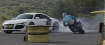 BMW S1000RR vs Audi R8 Drift Gymkhana [Video]