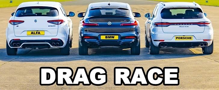 photo of BMW X4 M Drag Races Porsche Macan Turbo and Alfa Stelvio QV, Excuses Follow image