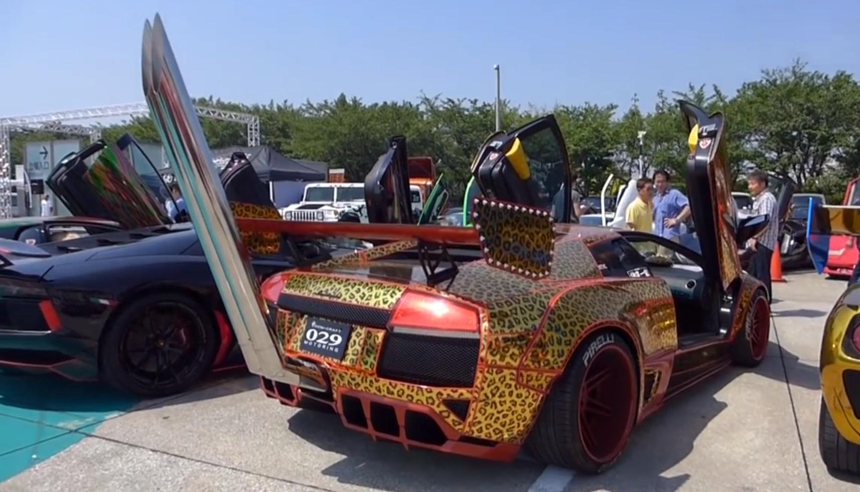 Bosozoku Lamborghini Has Leopard Wrap And Takeyari Bamboo