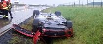 Bottoms Up: 69 Year Old Czech Driver Flips Ferrari 599 GTO