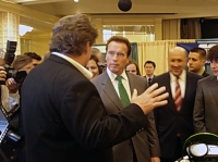 California Governor Arnold Schwarzenegger and Brammo CEO Craig Bramscher