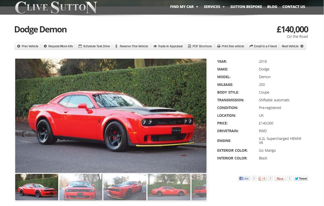British Car Dealer Lists Dodge Challenger Srt Demon For Sale At Gbp 140 000 Autoevolution
