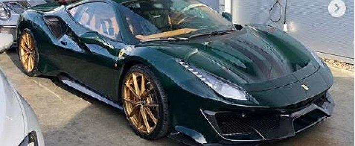 British Racing Green Ferrari 488 Pista with Gold Wheels Shows Bold Spec