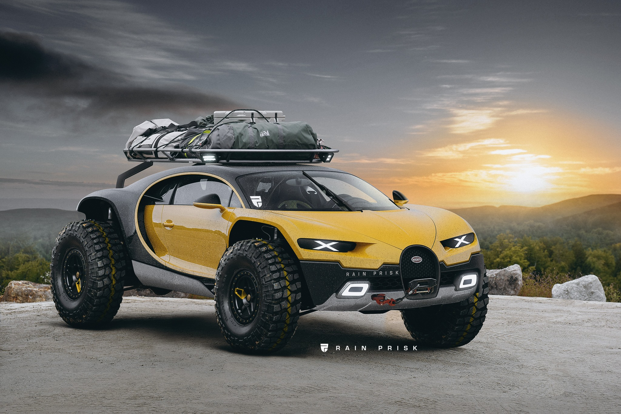 Roof Rack Lamborghini >> Bugatti Chiron Digitally Turned Into An Off-Road SUV - autoevolution