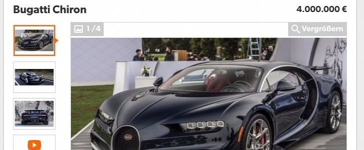 bugatti chiron pops up for sale with eur 4 million price tag it could be a scam autoevolution. Black Bedroom Furniture Sets. Home Design Ideas