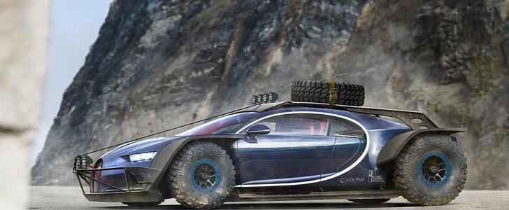 Bugatti Chiron Rally Raid Car Caught Riding Dirty In This