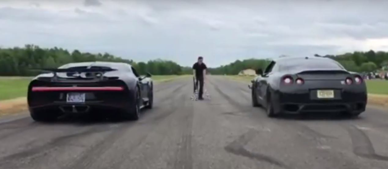 bugatti chiron vs. 1,500 hp nissan gt-r drag race ends in a k.o.
