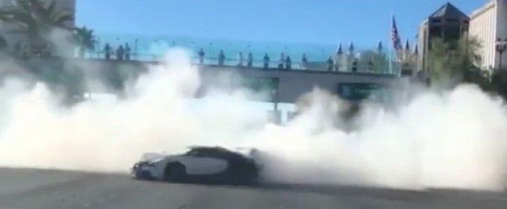Bugatti Veyron Does Donuts On Las Vegas Strip Smoke