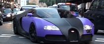 Bugatti Veyron Shines in Matte Black on Purple [Video]