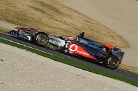 Jenson Button testing the Pirelli tires in Valencia