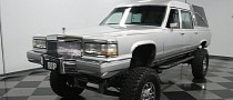 Caddy Brougham Hearse Lifted on a Chevy K10 Chassis Is Begging for Attention
