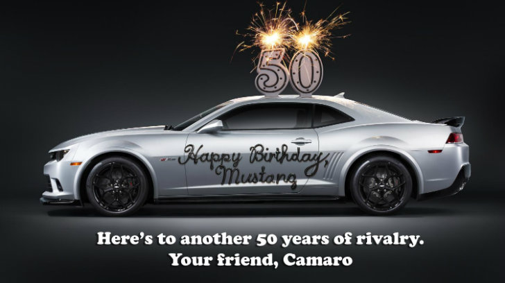 Camaro Sends A Cheeky 50th Birthday Card To The Mustang Autoevolution