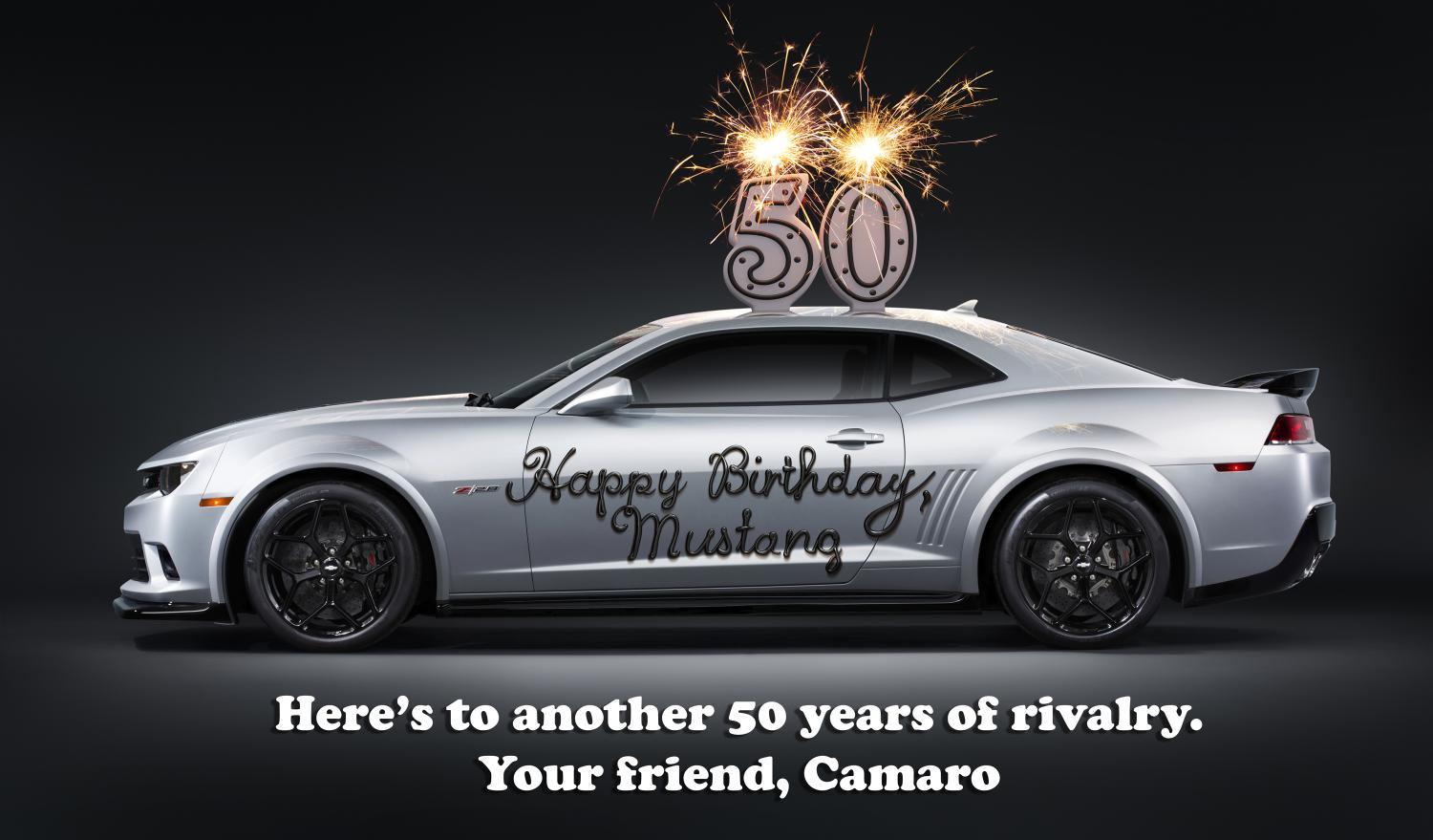 Camaro Sends A Cheeky 50th Birthday Card To The Mustang
