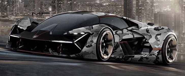 Camouflage Wrap Lamborghini Terzo Millennio Looks Like A
