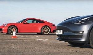 Can a Tesla Model 3 Beat a New Porsche 911 Carrera S in a Drag Race?