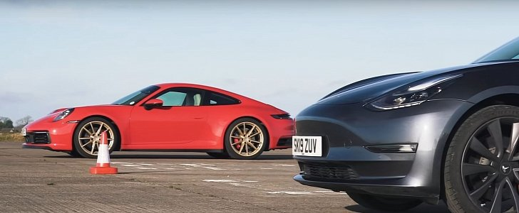 Can a Tesla Model 3 Beat a New Porsche 911 Carrera S in a Drag Race? - autoevolution
