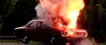 Car Blows Out after Female Driver Lights Cigarette Inside