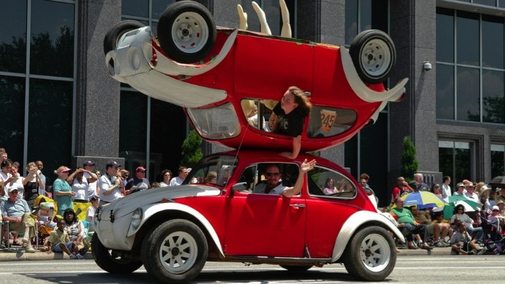 Car Crash Art via Volkswagen Beetle