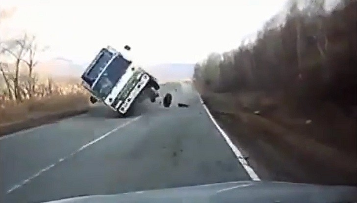 Watch How a Car Flips a Truck Over in Russia [Video]